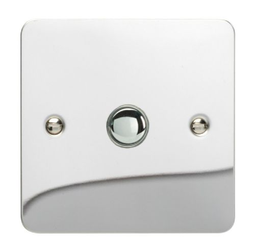 Varilight XFCP1 Ultraflat Polished Chrome 1 Gang 6A 1 or 2 Way Push-On/Off Impulse Switch